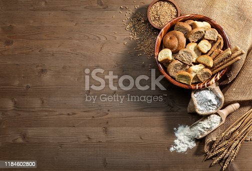 Healthy eating,fiber rich food in a bowl on a wooden plank.
