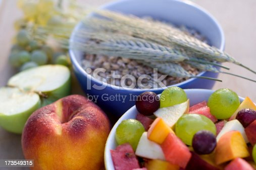 Fruits and cereals.