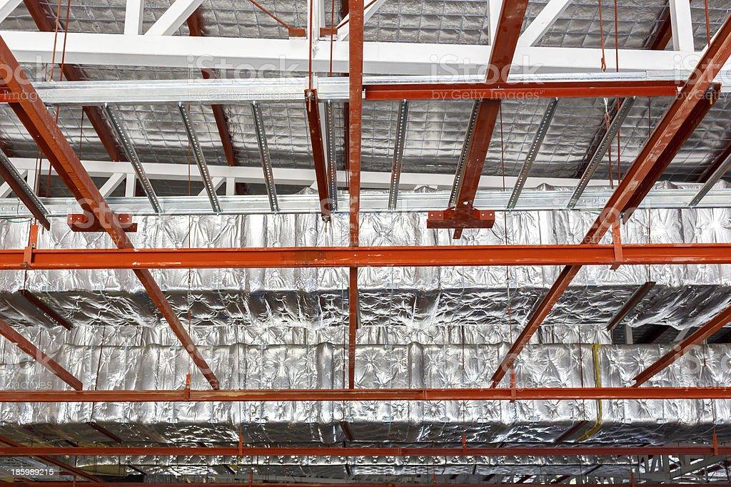 Fiberglass for new factory construction stock photo