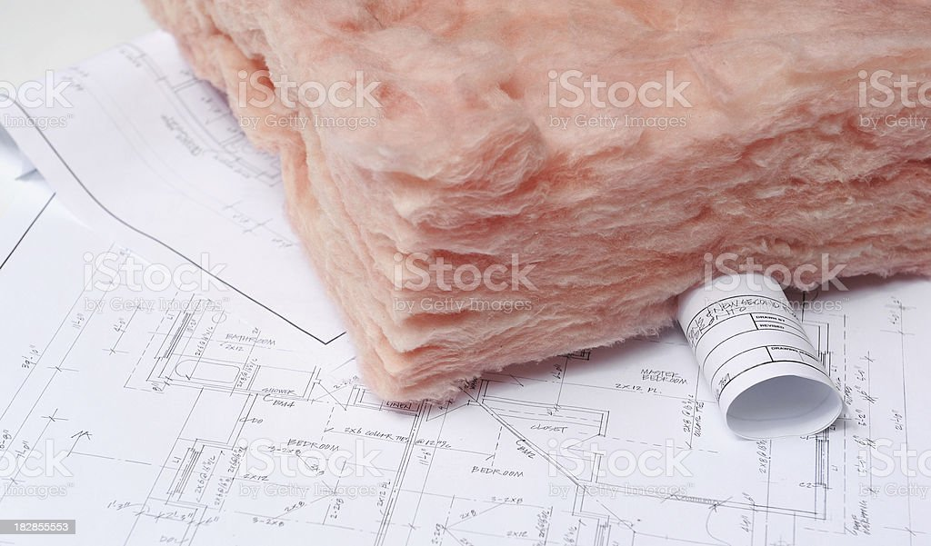 fiberglass insulation stock photo