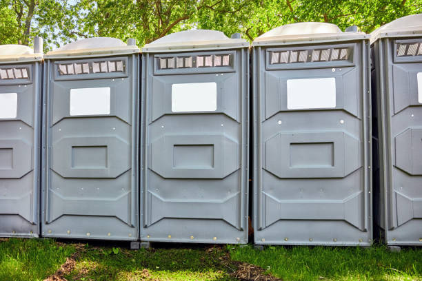Fiberglass reinforced polymer mobile toilette cabins in a park Rows of fiberglass reinforced polymer mobile toilet cabins in a park portable toilet stock pictures, royalty-free photos & images