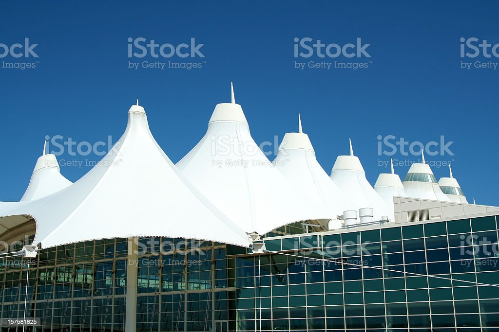 Fiberglass roof of Denver International Airport stock photo