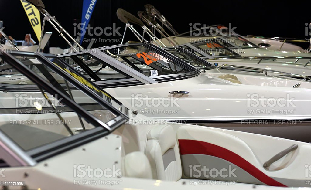 Fiberglass speed boats at Istanbul Boat Show stock photo