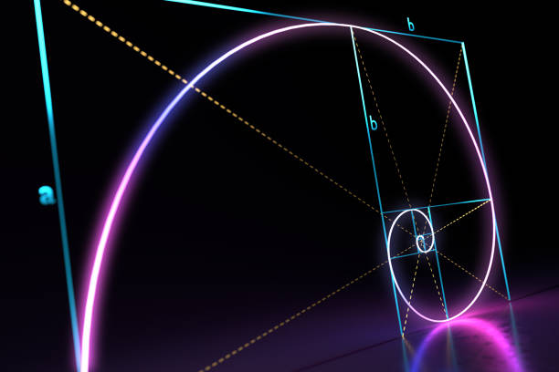 fibonacci golden ratio spiral on black background. 3d rendered illustration. - golden ratio стоковые фото и изображения