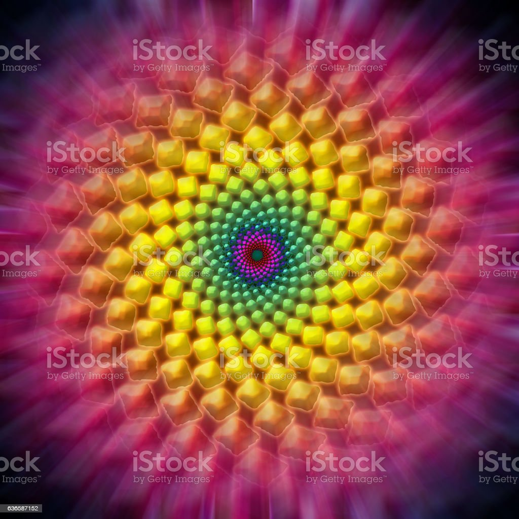 Fibonacci Spiral Dot Pattern stock photo