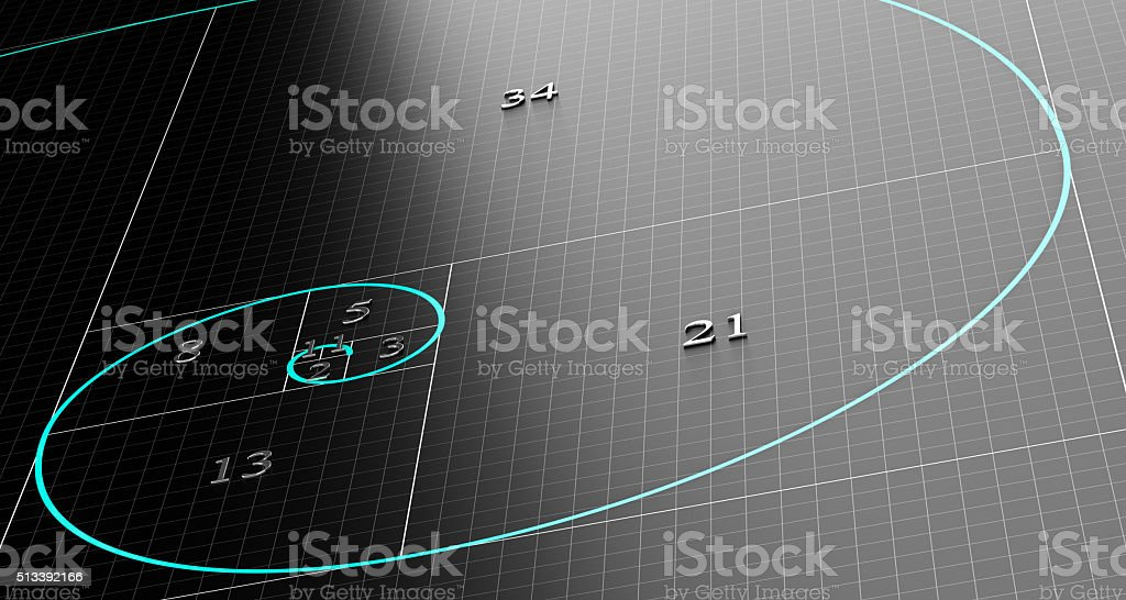 Fibonacci Spiral or Sequence stock photo
