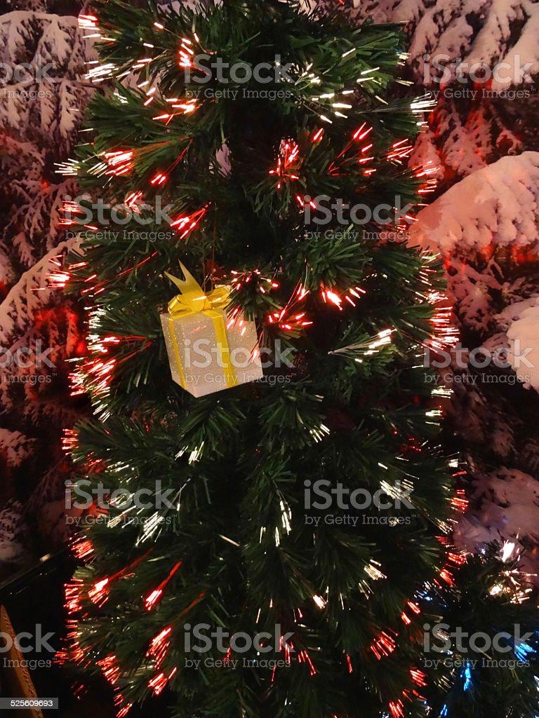 fibre optic christmas tree twinkling needle foliage red lights royalty free stock