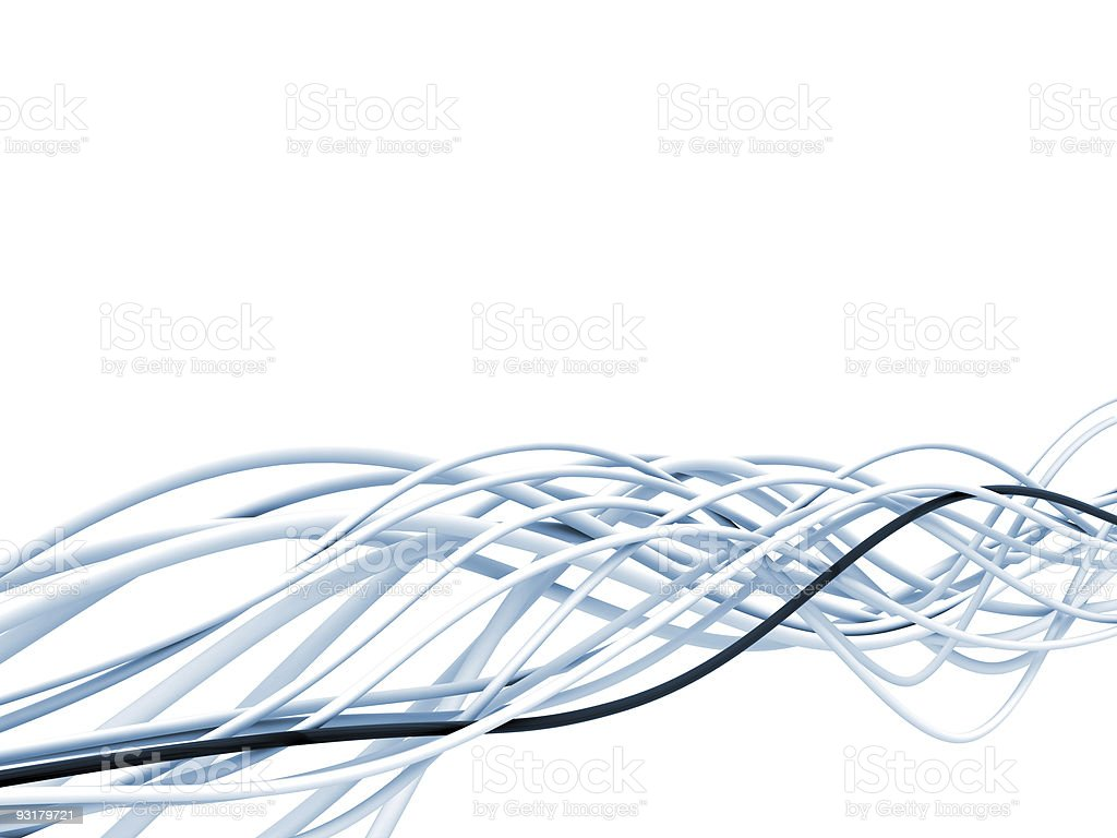 fibre-optical blue and white cables stock photo