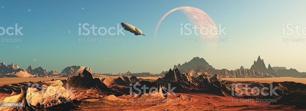 3D fictional space scene stock photo