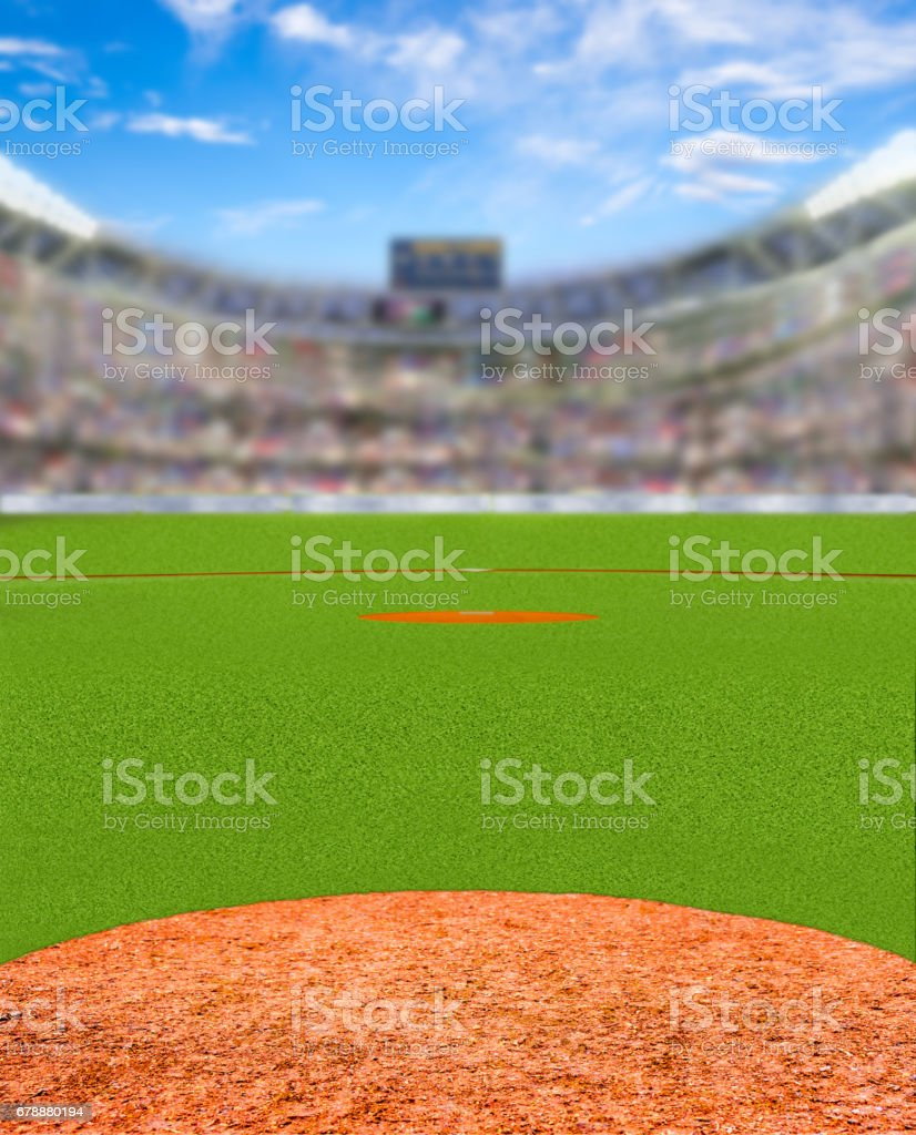 Fictitious Baseball Stadium With Copy Space stock photo