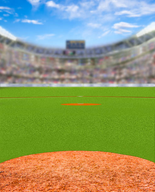 Fictitious Baseball Stadium With Copy Space Fictitious baseball stadium full of fans in the stands with deliberate focus on foreground and shallow depth of field on background. baseball diamond stock pictures, royalty-free photos & images