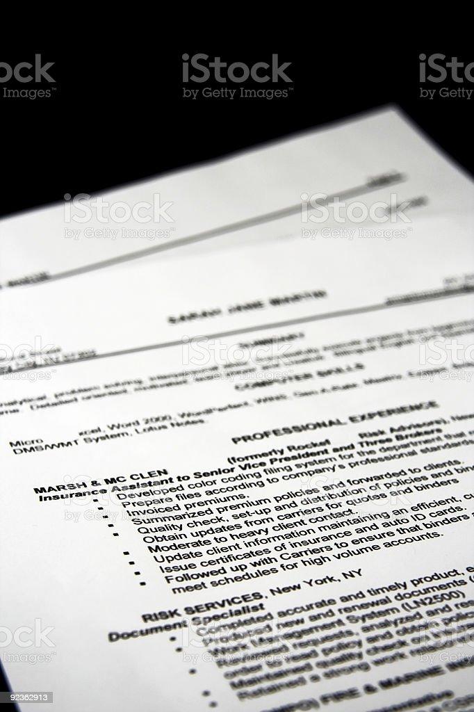 Fictitious resume royalty-free stock photo