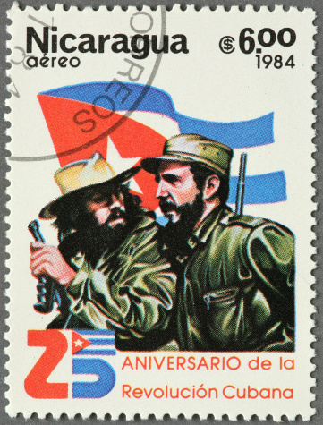Nicarguan stamp honoring the Cuban Revolution with Che Guevara and Fidel Castro.