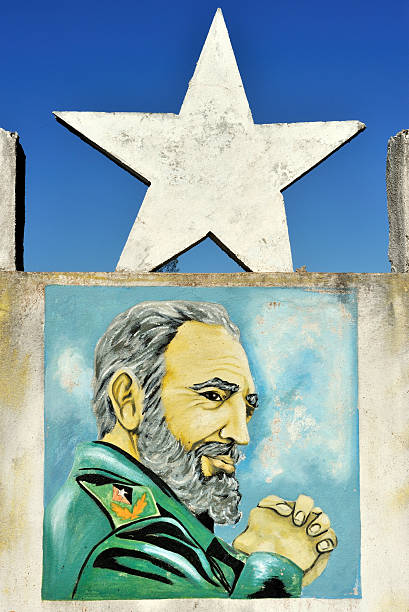 Fidel Castro painted Revolution monument, Cuba stock photo