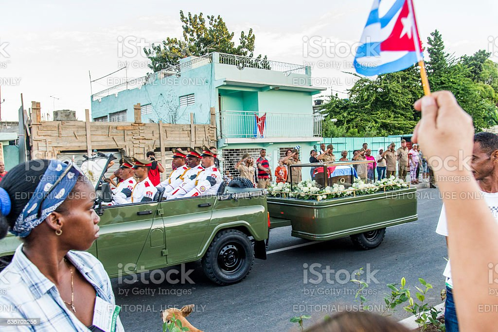 Fidel Castro's funeral convoy going to his final destination.. stock photo