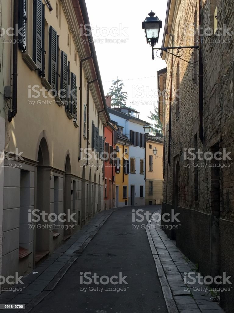 Fidenza, city street view stock photo