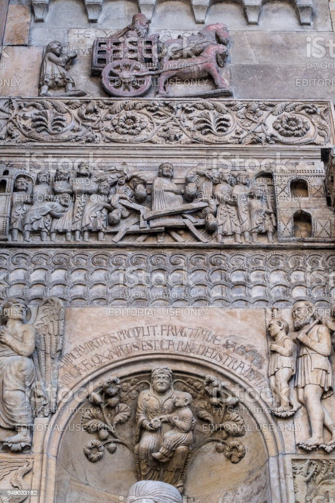 Fidenza, Parma, Italy: cathedral facade stock photo