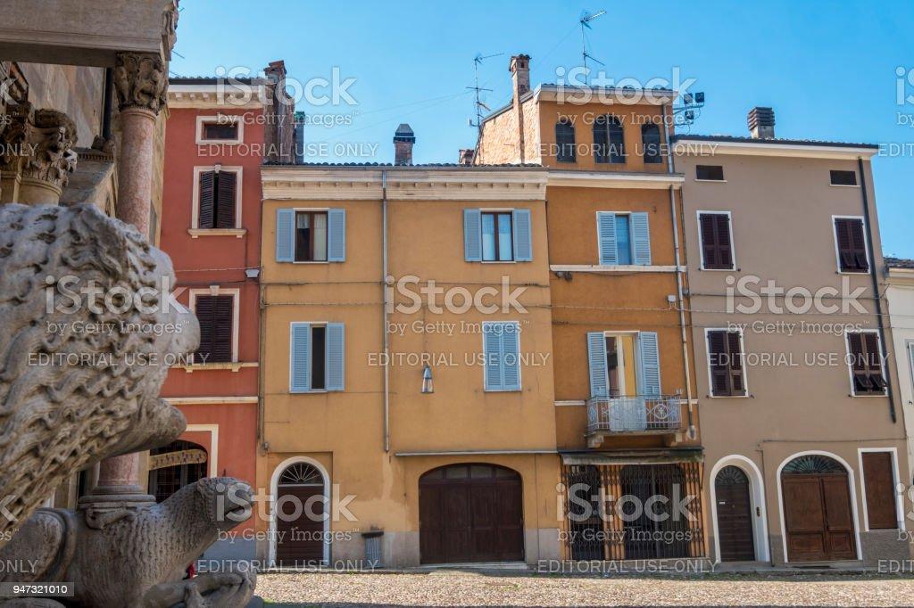 Fidenza, Parma, Italy: cathedral square stock photo