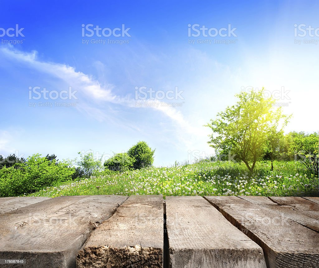 Field and wooden floor stock photo