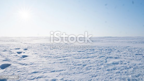 A Field covered with a snow in winter season. Winter countryside landscape