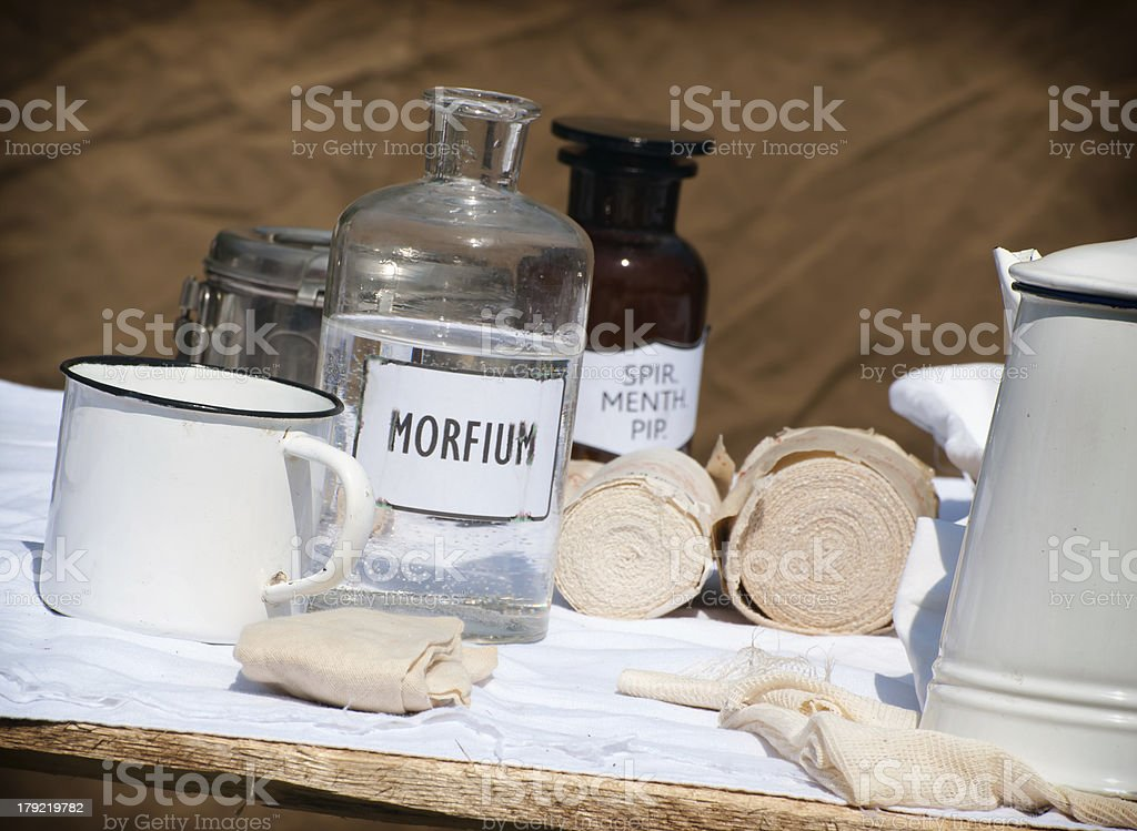 Field hospital equipment stock photo