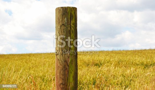 bright summer scene - wooden post with clear details and structure, nice clouds on the horizon