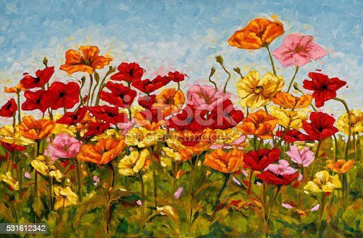Field of brightly colored poppies. Original oil painting on canvas by Judi Parkinson.