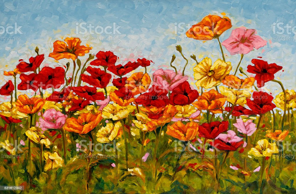 Field of Colorful Poppies Oil Painting stock photo