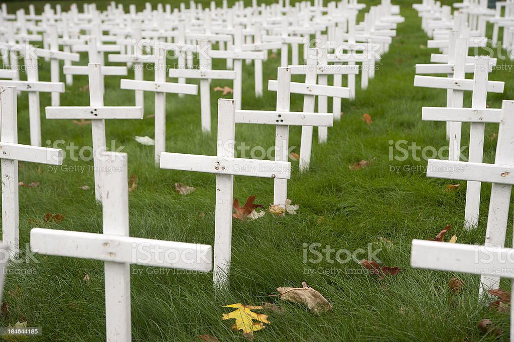 Field of crosses stock photo