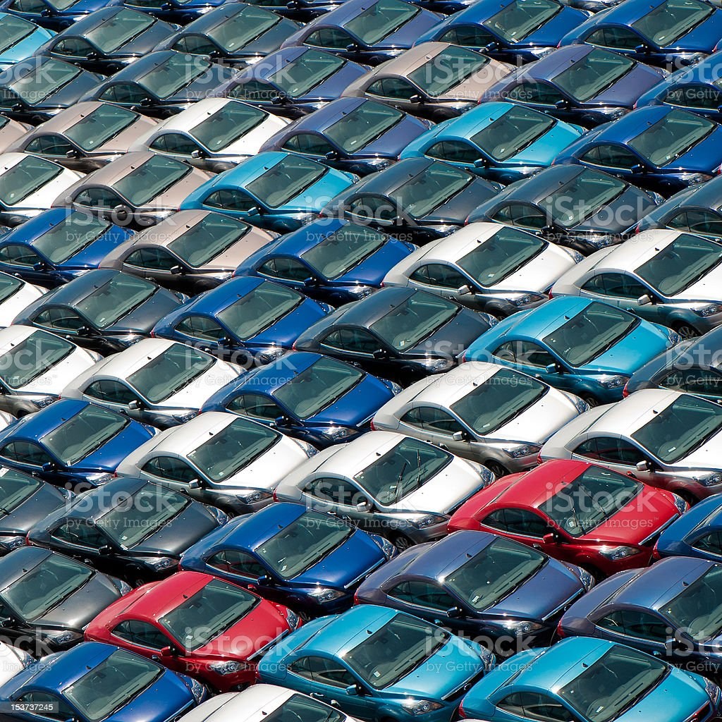 Field of new cars stock photo
