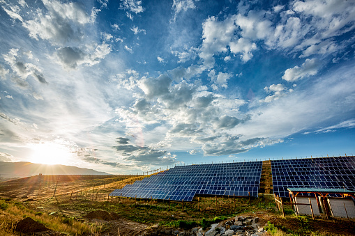 Multiple solar panels in a rural pasture under a partly cloudy blue sky with a rising sun in the background.