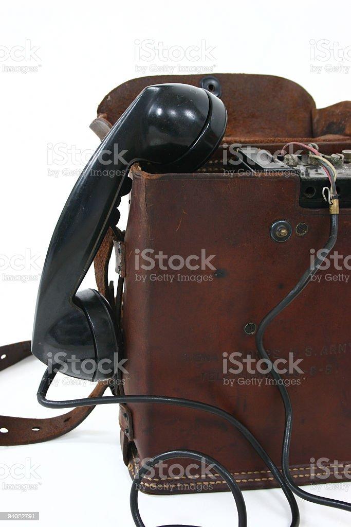 Telefone de campo da Segunda Guerra Mundial - foto de acervo