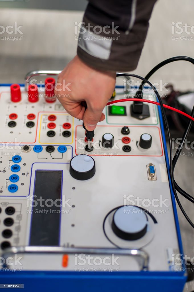 Field service crew testing electronics or inspecting electrical installation system stock photo