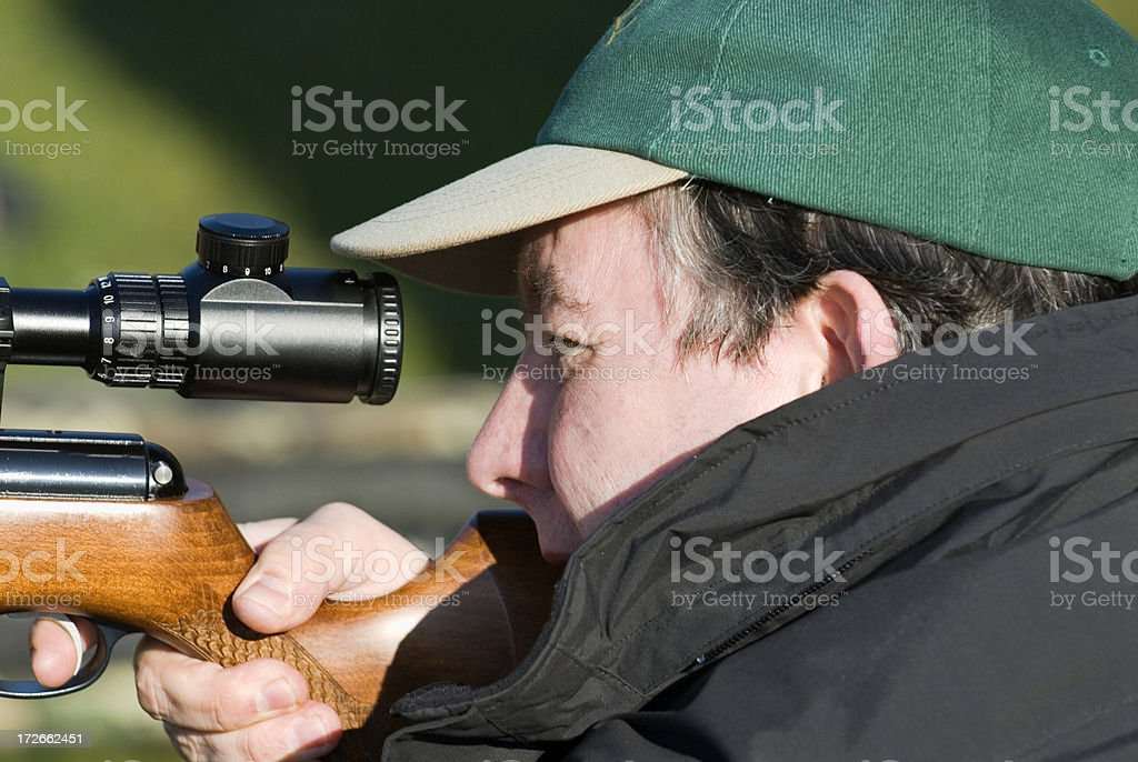 Field target shooting. stock photo