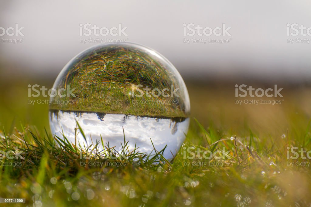 A field through a crystal ball stock photo