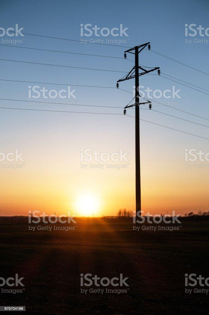在夕陽光電氣線路的欄位。 免版稅 stock photo