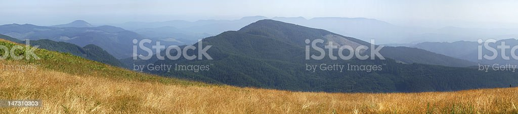 Field with mountain stock photo