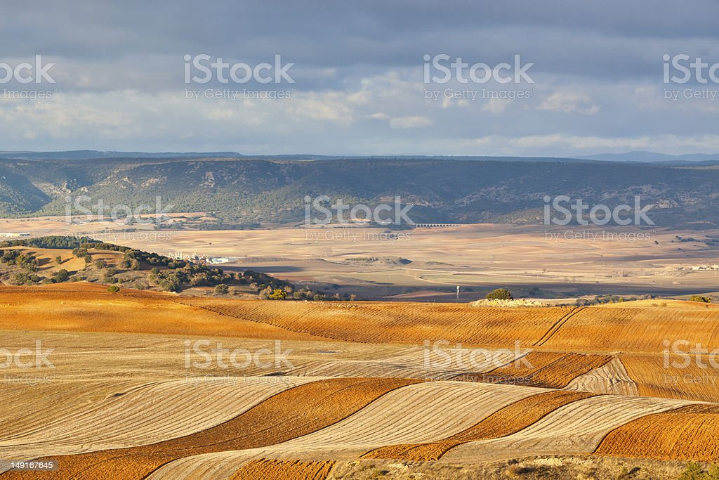Fields and hills of Spain at winter stock photo