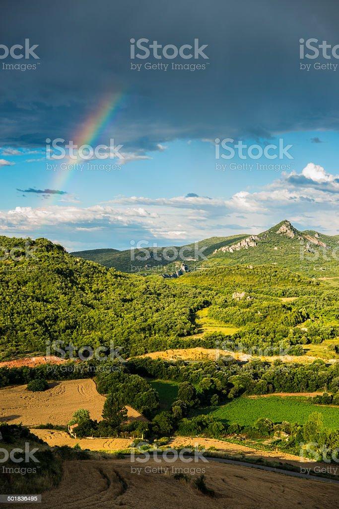 Fields and Rainbow in La Rioja. Spain. Europe. stock photo