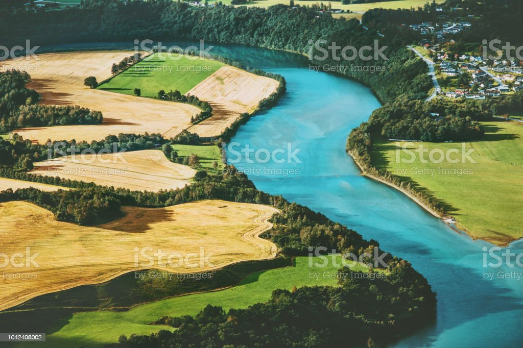 Felder und den Fluss Luftbild ländlichen Landschaft Natur Ökologie-Konzept – Foto