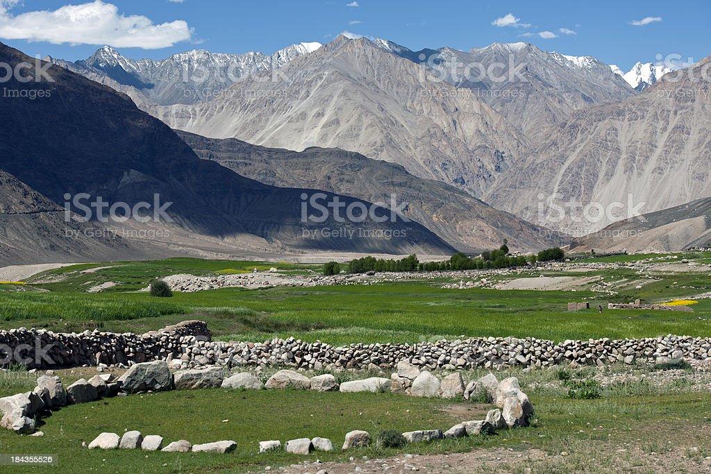 Fields and Village among Mountains Ladakh stock photo