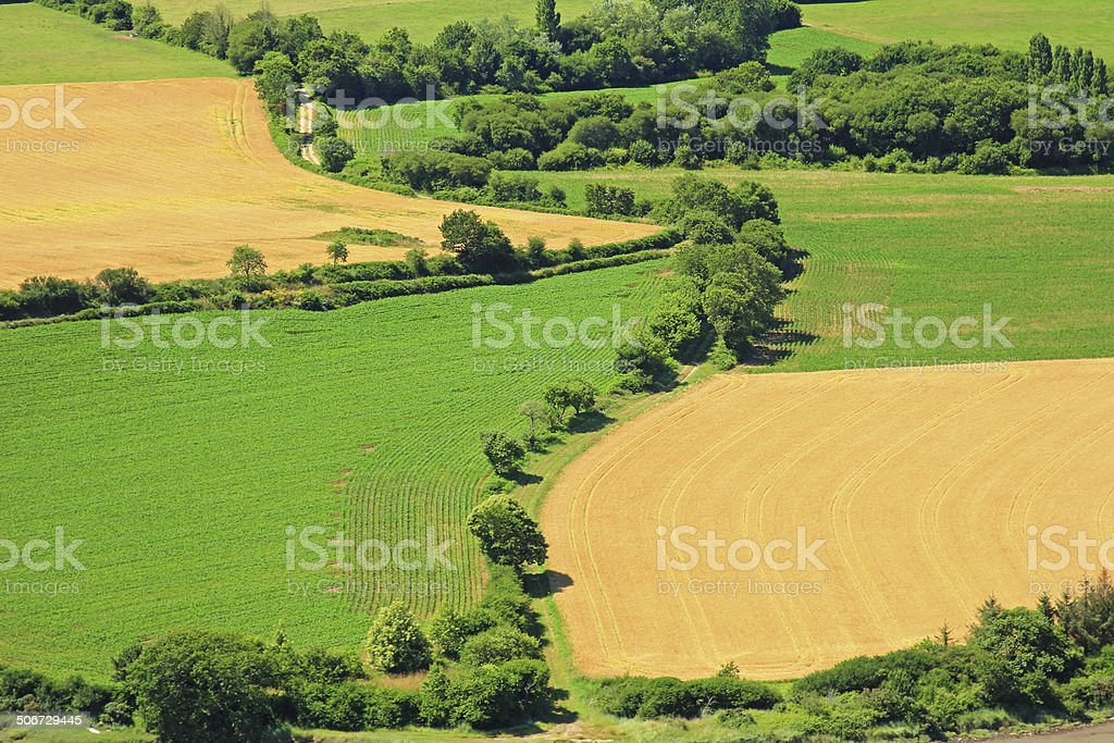 Fields in Brittany, France stock photo