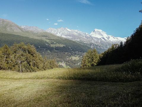 Fields in Val d'Hérens in Valais, Switzerland