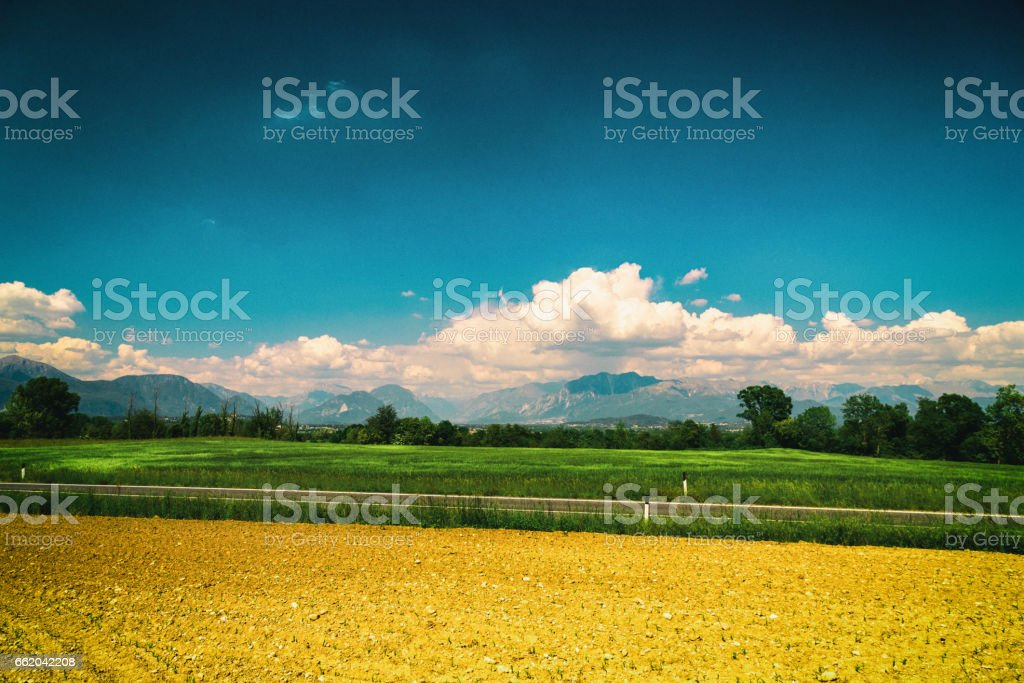 Fields of Italy in a spring day royalty-free stock photo