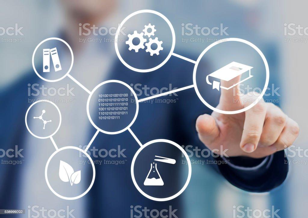 I campi di studio o accademiche discipline istruzione e della scienza - foto stock