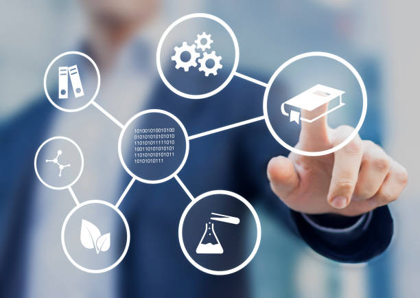 Fields of study or academic disciplines, education and science stock photo