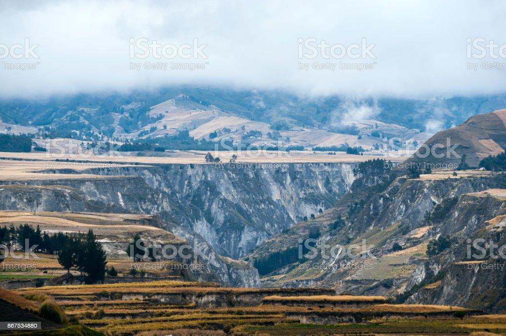 Fields of Zumbahua in Ecuadorian Altiplano. Highland Andes near Quilotoa lagoon, South America stock photo