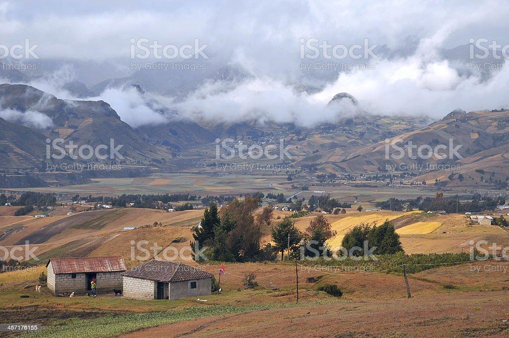 Fields of Zumbahua in Ecuadorian Altiplano stock photo