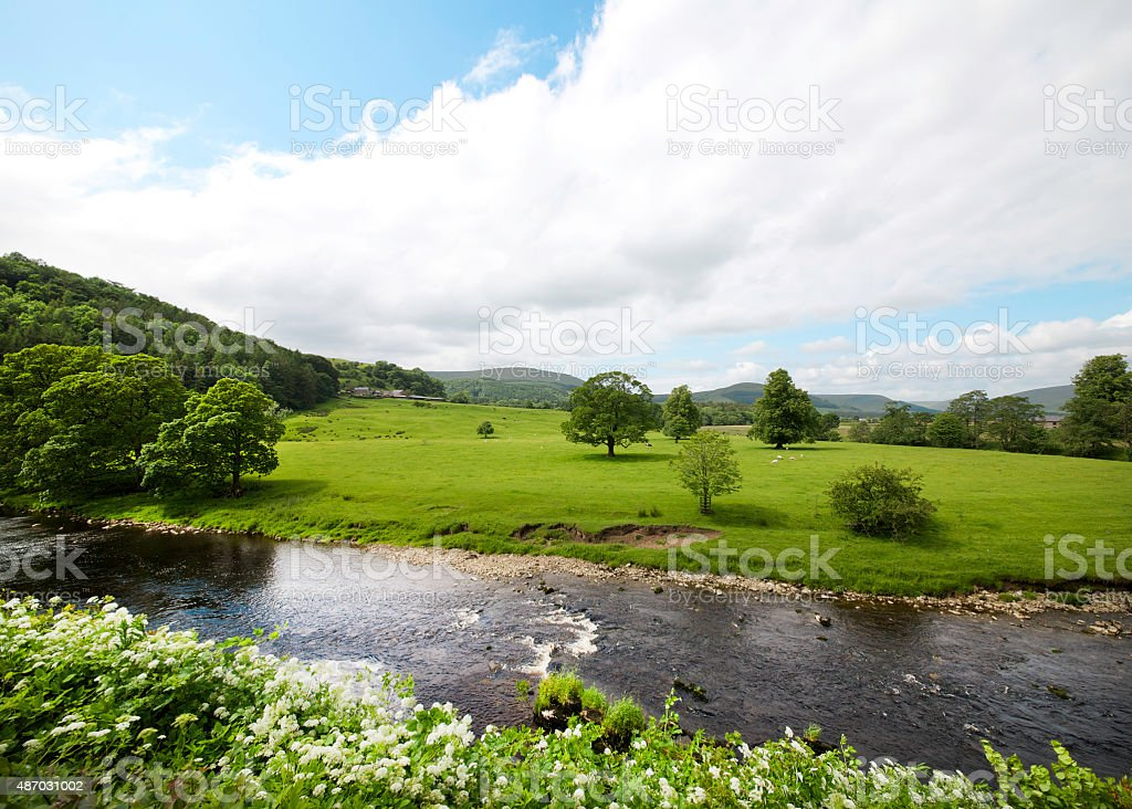 Fields on the banks of the River Hodder stock photo