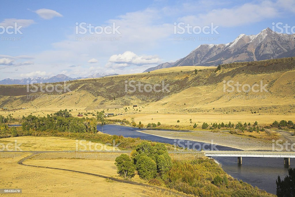 Fields, the river and mountains. royalty-free stock photo